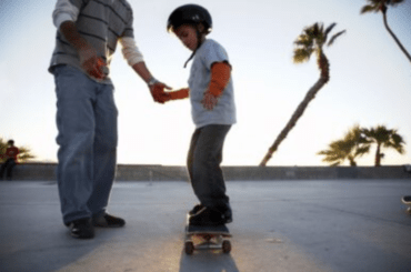 skateboard lesson with kid